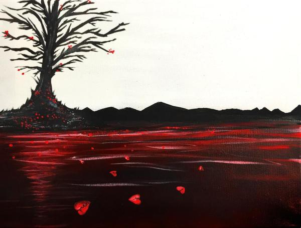 A dark-coloured tree sits by a red-coloured pond and drops red heart-shaped leaves into the water.